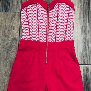 Carmin Los Angeles NWOT  Romper Size M Hot Pink/Wh